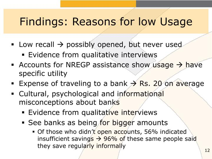 Findings: Reasons for low Usage