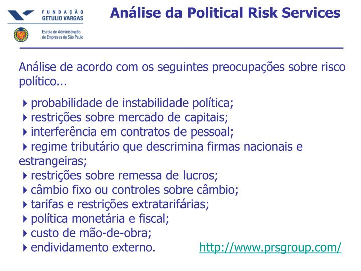 Análise da Political Risk Services