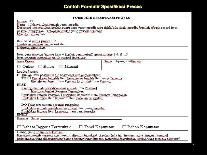 Contoh Formulir Spesifikasi Proses