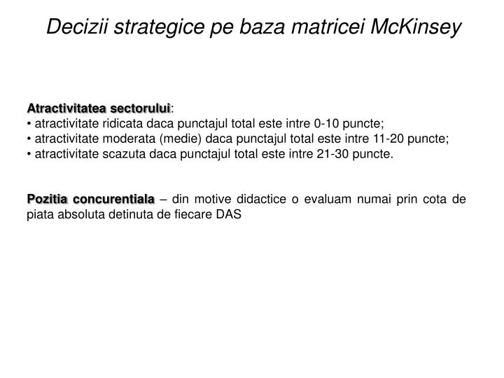 Decizii strategice pe baza matricei McKinsey