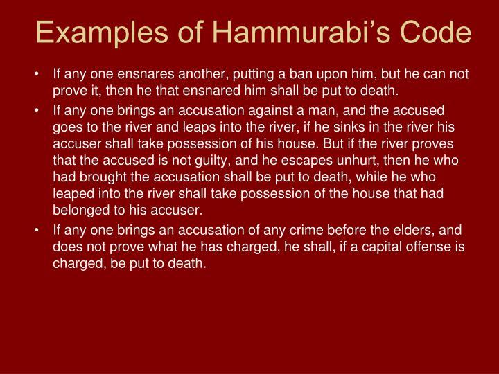 Examples of Hammurabi's Code