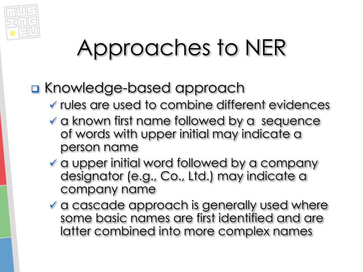 Approaches to NER
