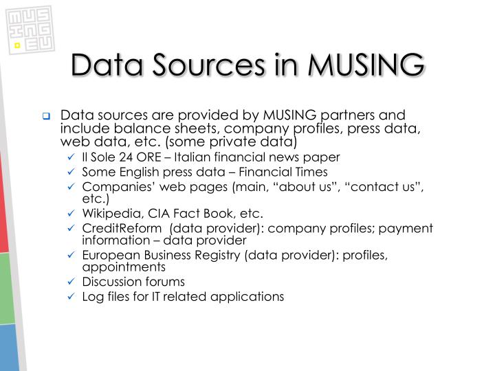 Data Sources in MUSING