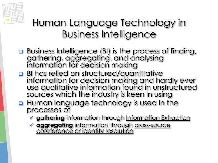 Human language technology in business intelligence