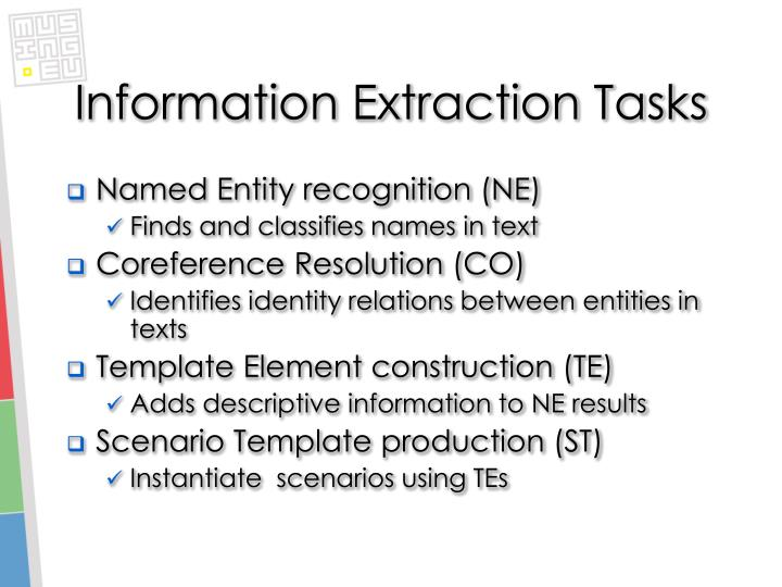 Information Extraction Tasks