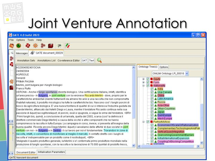 Joint Venture Annotation