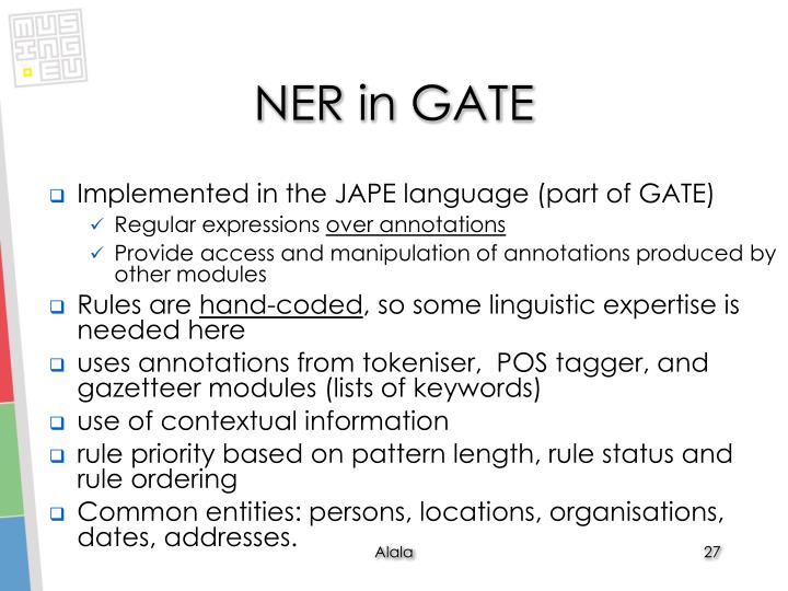 NER in GATE