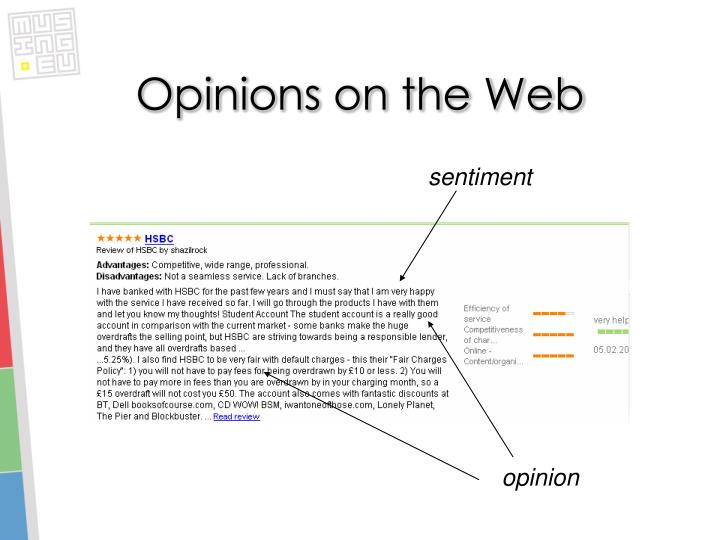 Opinions on the Web
