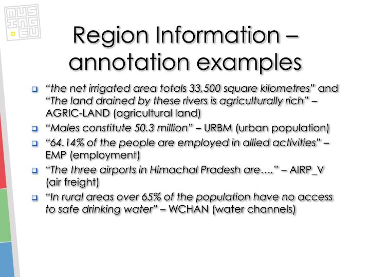 Region Information – annotation examples