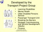 developed by the transport project group