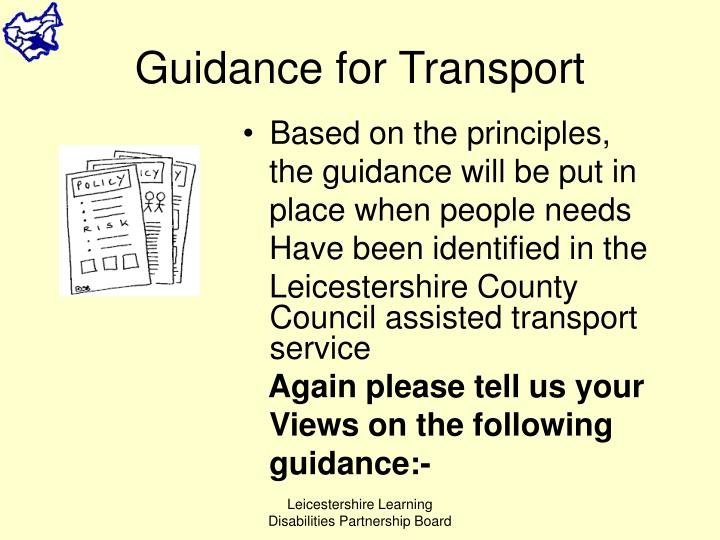 Guidance for Transport