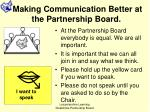 making communication better at the partnership board