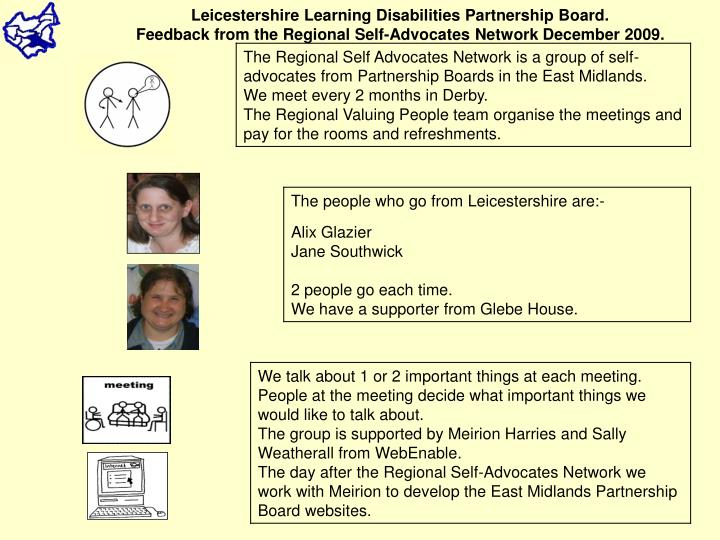 Leicestershire Learning Disabilities Partnership Board.