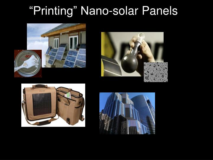 """Printing"" Nano-solar Panels"