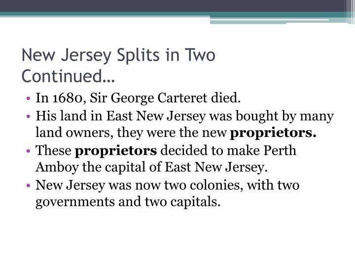 New Jersey Splits in Two