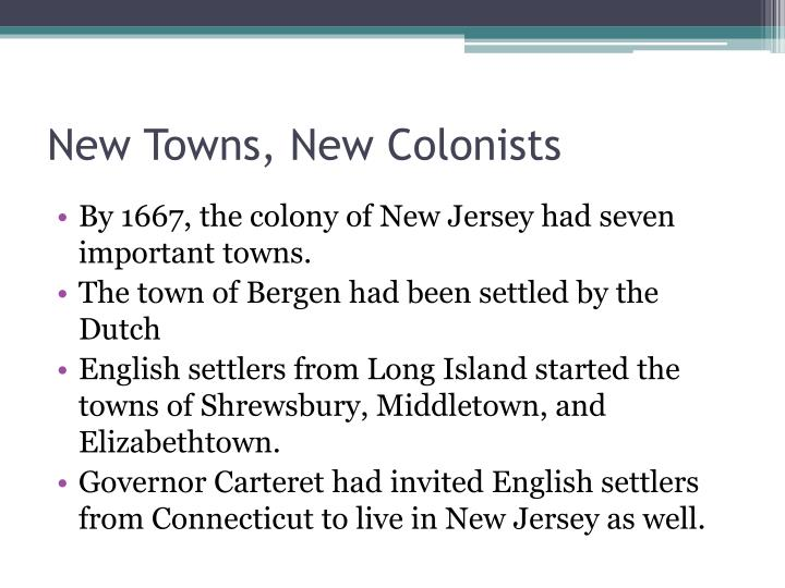 New towns new colonists
