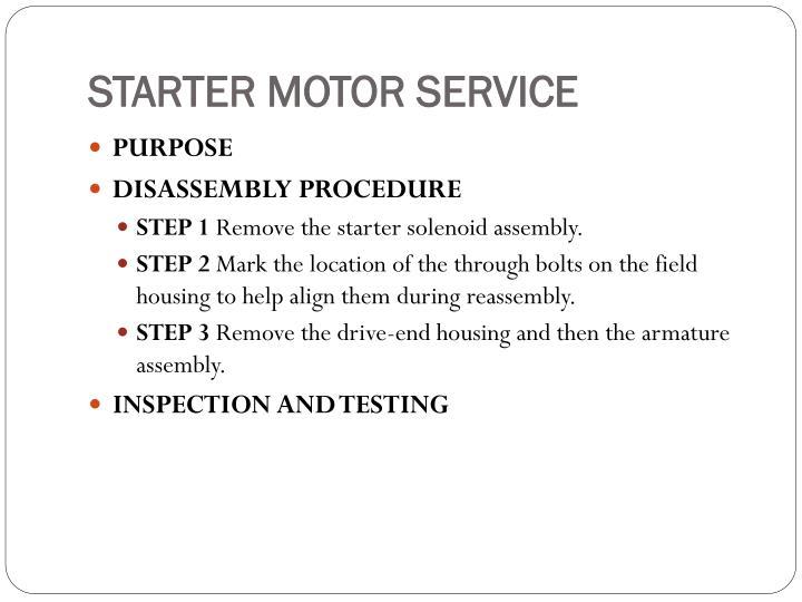 STARTER MOTOR SERVICE