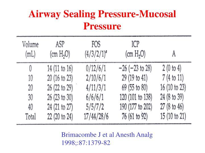 Airway Sealing Pressure-Mucosal Pressure
