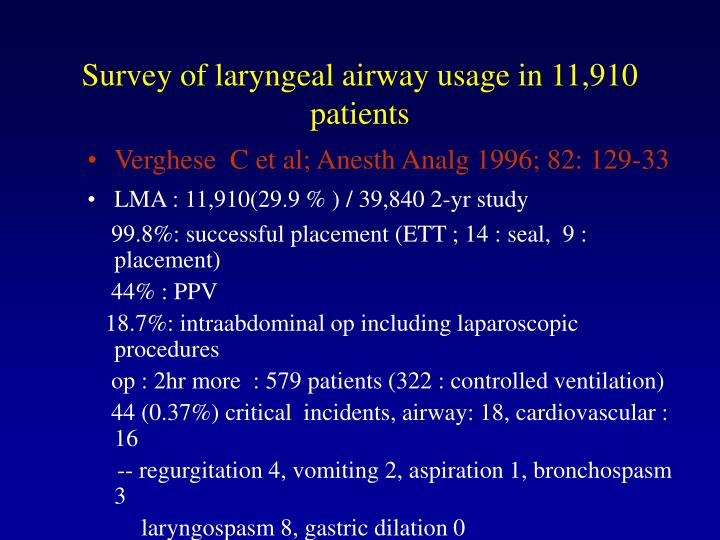 Survey of laryngeal airway usage in 11,910 patients