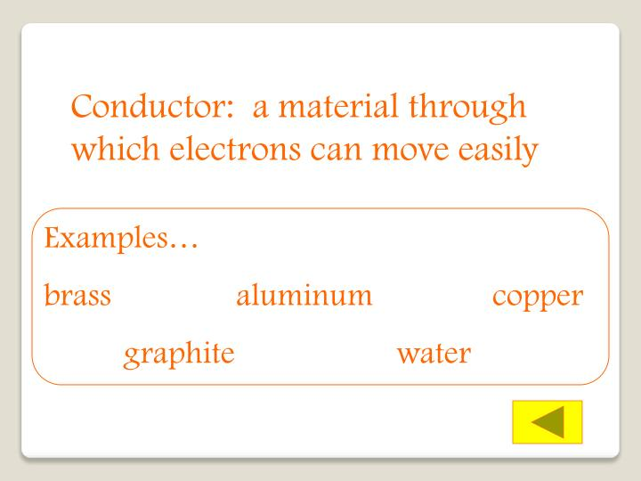 Conductor:  a material through which electrons can move easily