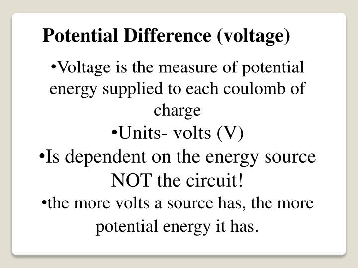 Potential Difference (voltage)