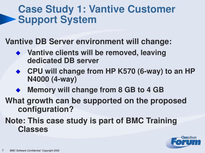 Case Study 1: Vantive Customer Support System