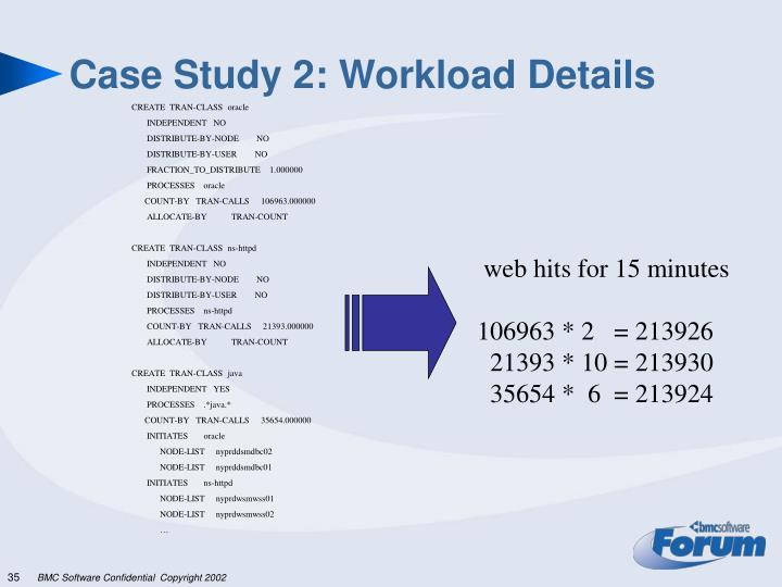 Case Study 2: Workload Details