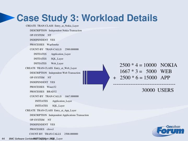 Case Study 3: Workload Details