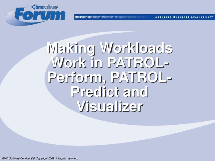 Making workloads work in patrol perform patrol predict and visualizer