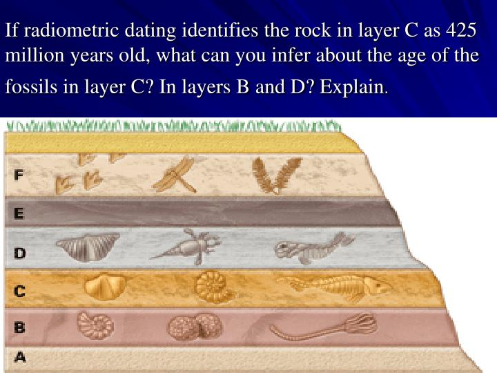 If radiometric dating identifies the rock in layer C as 425 million years old, what can you infer about the age of the fossils in layer C? In layers B and D? Explain