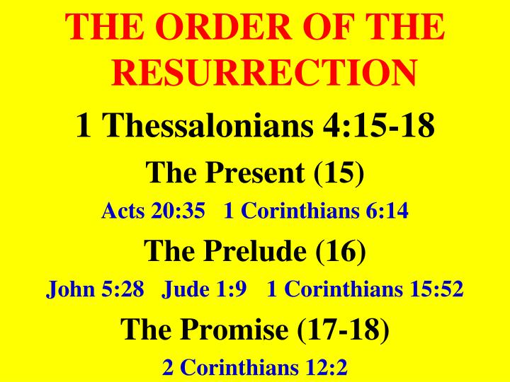 THE ORDER OF THE RESURRECTION