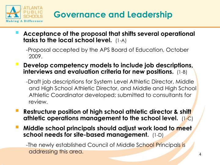 Governance and Leadership