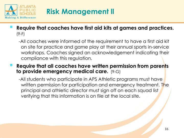 Require that coaches have first aid kits at games and practices.