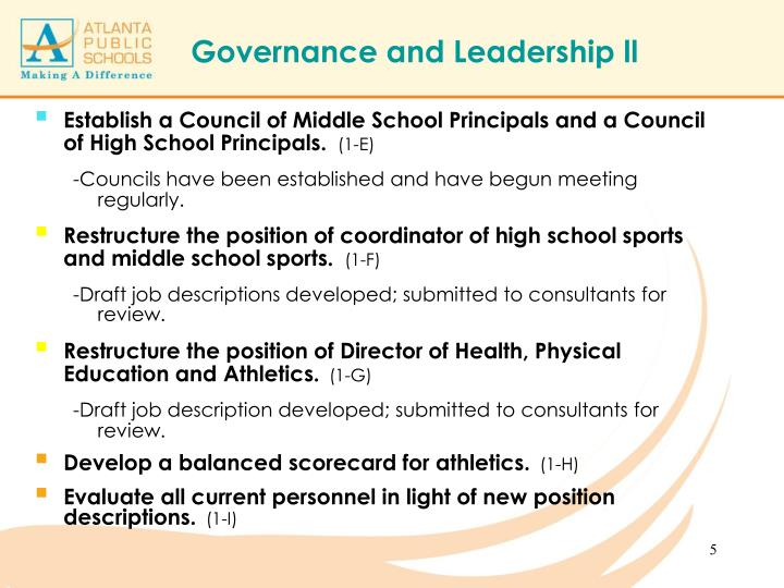 Establish a Council of Middle School Principals and a Council of High School Principals.