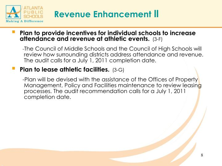 Plan to provide incentives for individual schools to increase attendance and revenue at athletic events.