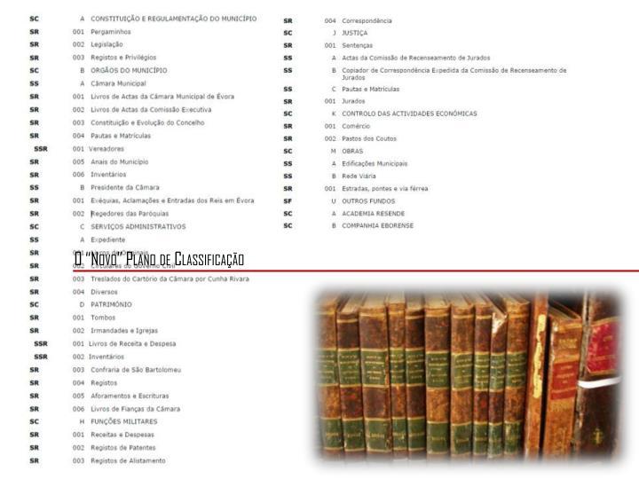 """O """"Novo"""" Plano de Classificação"""