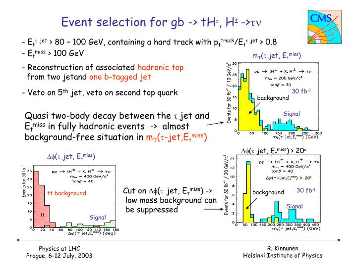 Event selection for gb -> tH