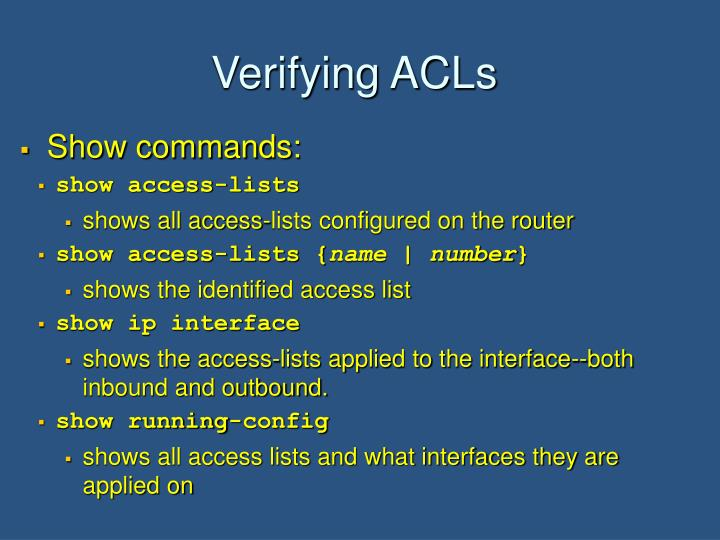 Verifying ACLs