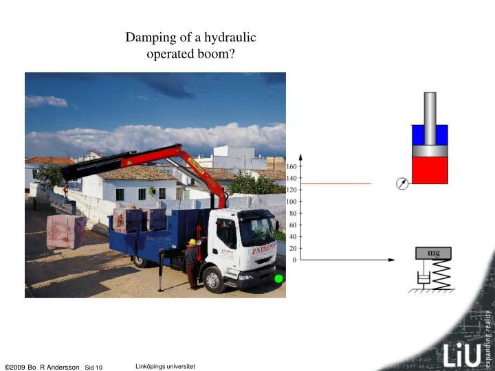 Damping of a hydraulic operated boom?