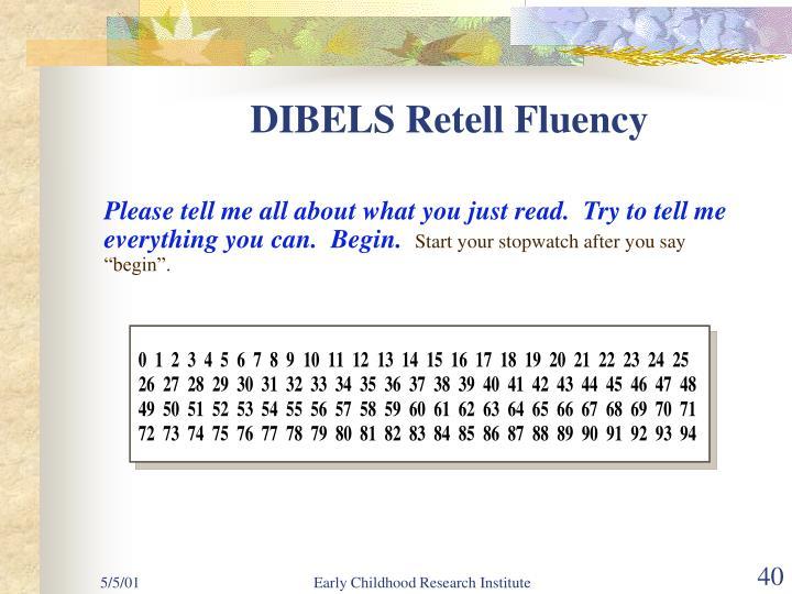 DIBELS Retell Fluency