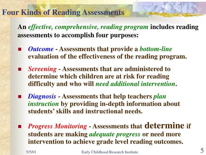 Four Kinds of Reading Assessments