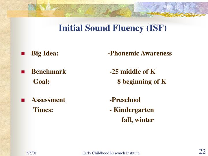Initial Sound Fluency (ISF)