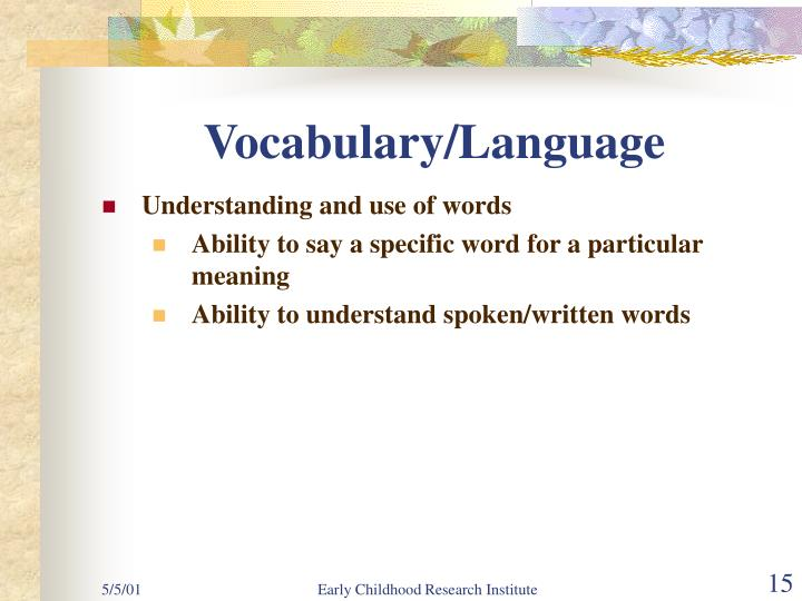Vocabulary/Language
