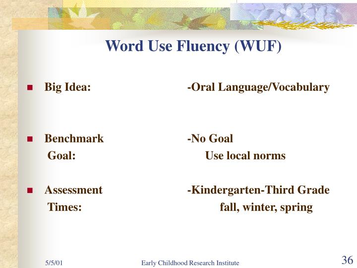 Word Use Fluency (WUF)