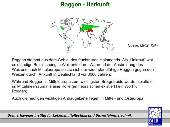 Roggen - Herkunft
