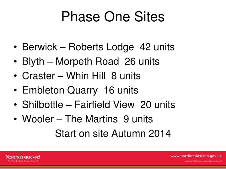 Phase One Sites