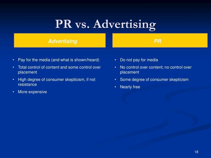 PR vs. Advertising