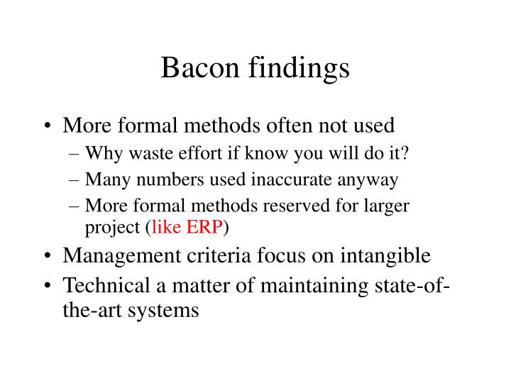 Bacon findings