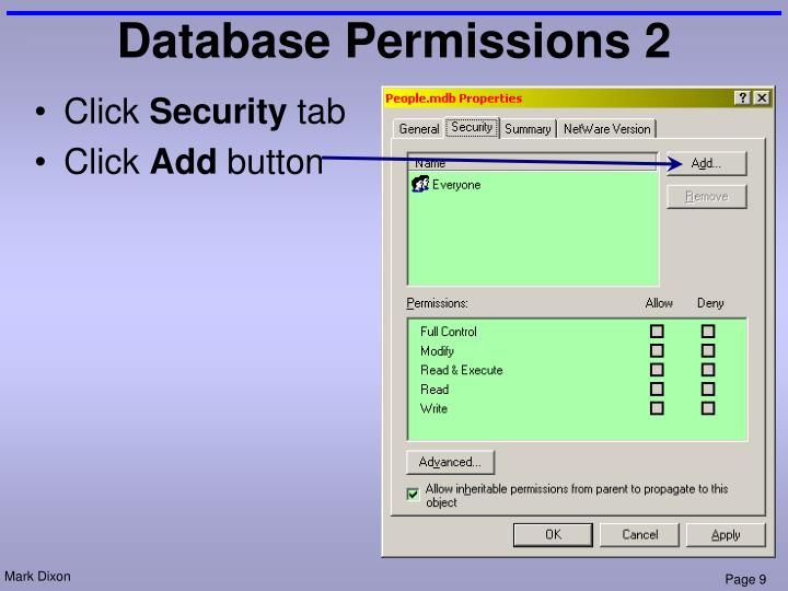 Database Permissions 2