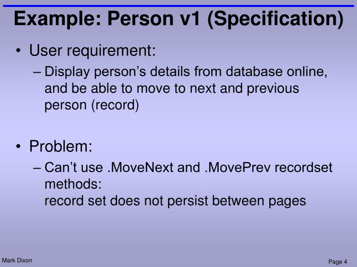 Example: Person v1 (Specification)